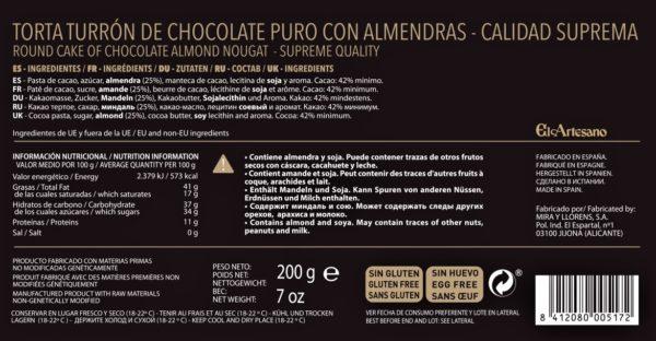 Torta chocolate puro con almendras