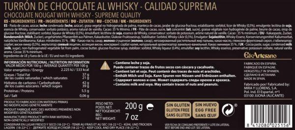Turrón de chocolate al whisky
